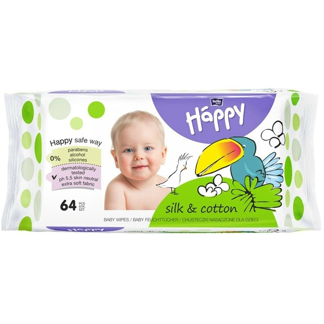 Bella Baby Happy Silk&Cotton babatörlőkendő 64 db