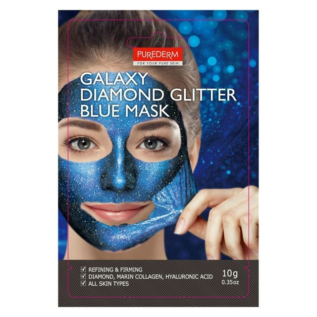 PureDerm Galaxy diamond peel-off kék glitteres arcmaszk 10g ADS475
